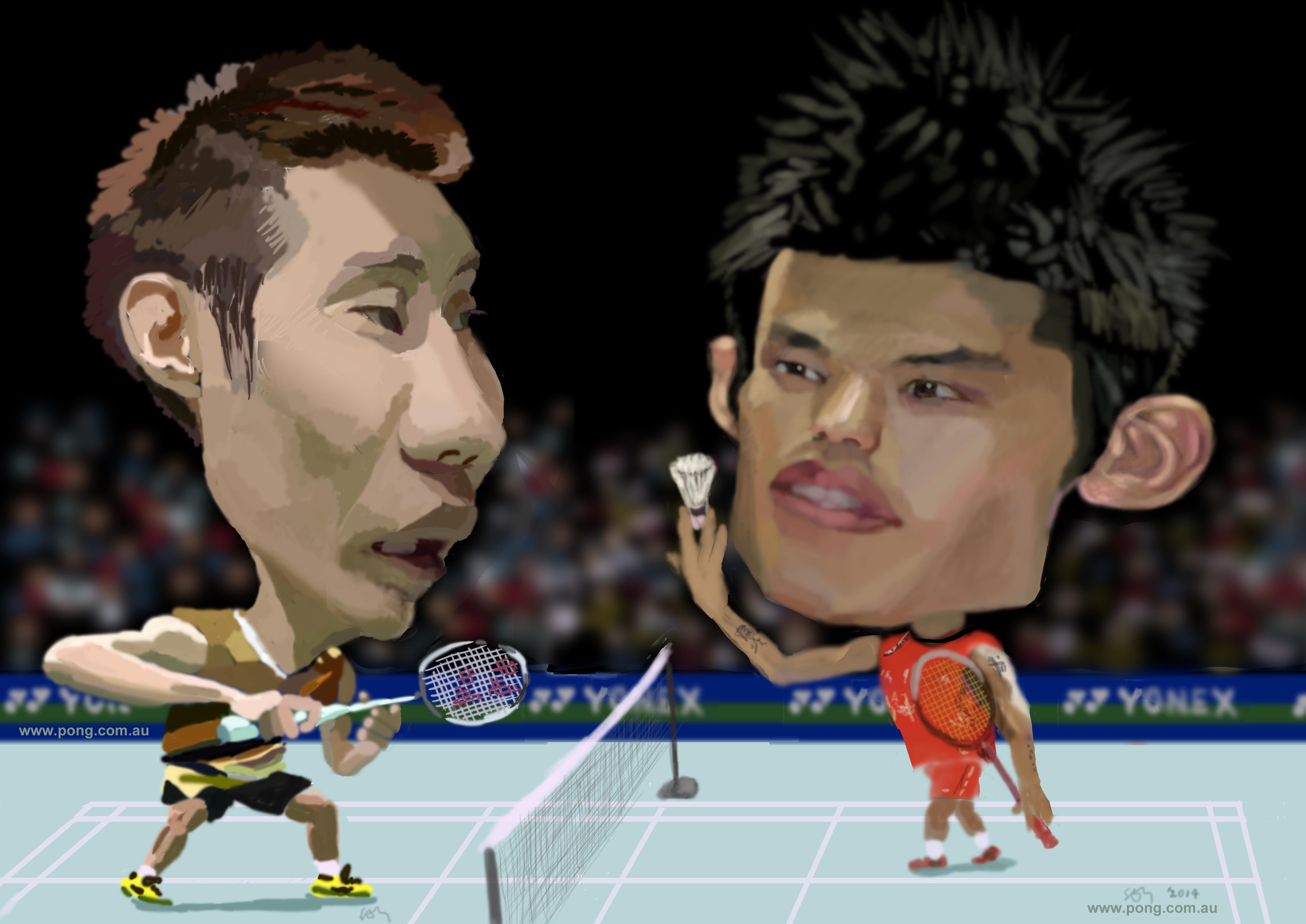 Lee Chong Wei vs Lin Dan caricature